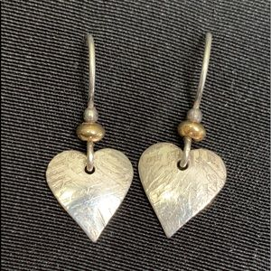 Small Etched Hearts Sterling Dangle Earrings